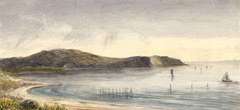 Heads of Ayr Beach, Scotland - Original 1874 watercolour painting