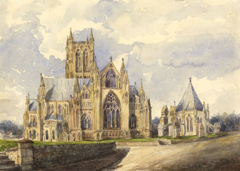 East End, Lincoln Cathedral - Original mid-19th-century watercolour painting