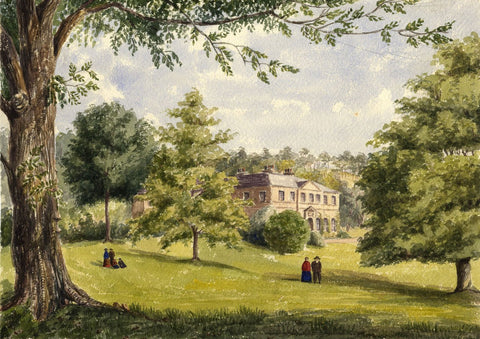 Country House Estate, Balgay, Dundee - Mid-19th-century watercolour painting