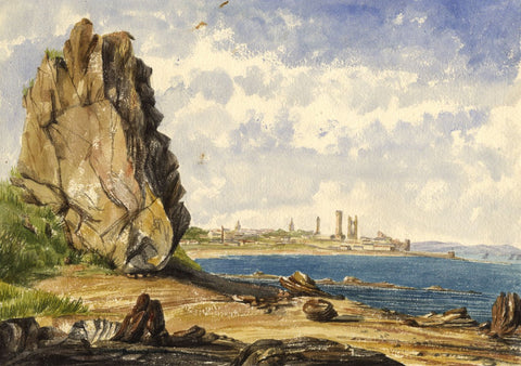 Maiden Rock, St Andrews, Fife - Original mid-19th-century watercolour painting