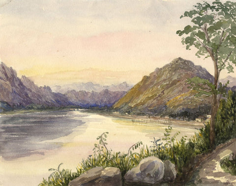 Loch Long, Arrochar, Scotland - Original mid-19th-century watercolour painting