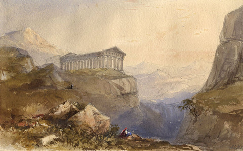 Frances Emily Bridgeman-Simpson, Temple, Agrigentum -c.1840 watercolour painting