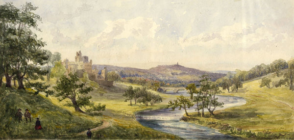 Alnwick Castle & the River Aln - Original mid-19th-century watercolour painting