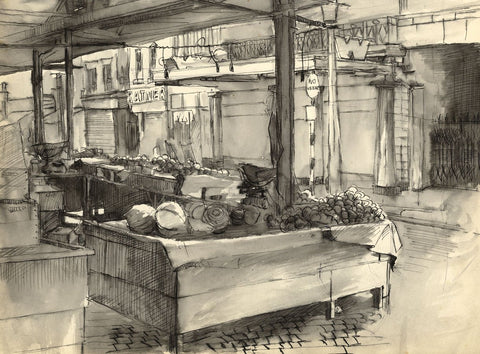 D. Clarke, Street Scene with Market Stall - Original 1960s pen & ink drawing