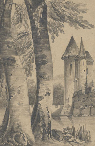 Miss Leywater, View across Moat to Turreted Castle - 1847 graphite drawing