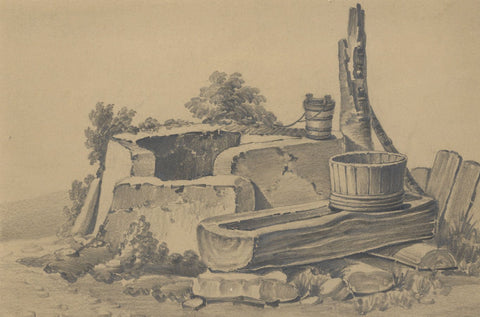 Miss Leywater, Stone Well & Trough Study - Original 1847 graphite drawing
