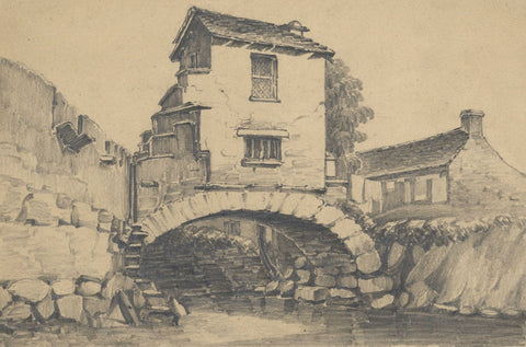 Miss Leywater, The Bridge House, Ambleside - Original 1847 graphite drawing