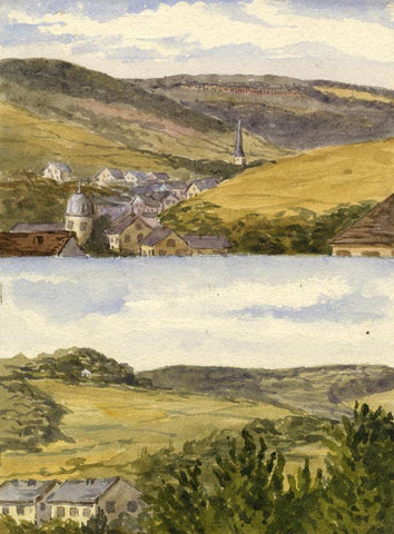 Dashwood, Town View, Bad Schwalbach, Germany -Original 1886 watercolour painting