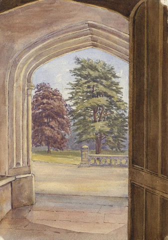 Dashwood, Doorway, Garden View, Boulogne, France - 1880s watercolour painting