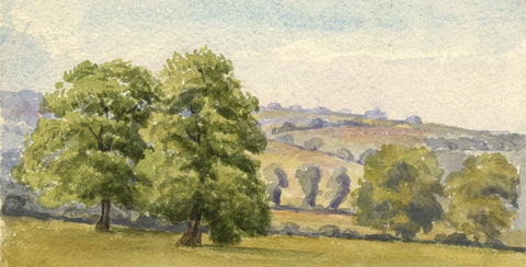 Dashwood, Valley Landscape with Trees - Original 1887 watercolour painting