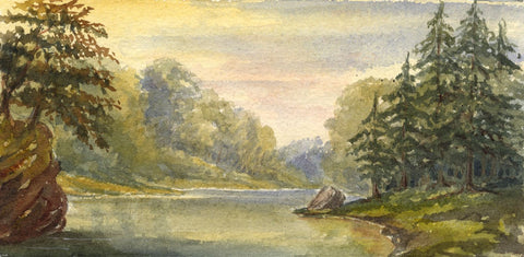 Dashwood, River Landscape & Fir Trees - Mid-19th-century watercolour painting
