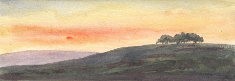 Dashwood, Landscape at Sunset - Original mid-19th-century watercolour painting