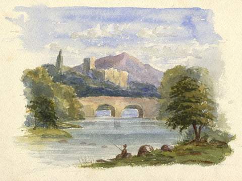 Dashwood, River View with Angler & Bridge -mid-19th-century watercolour painting