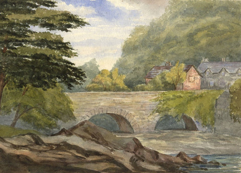 Dashwood, Houses by Stone Bridge -Original mid-19th-century watercolour painting