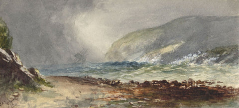 Dashwood, Stormy Seas with Lilting Ship - Original 1878 watercolour painting