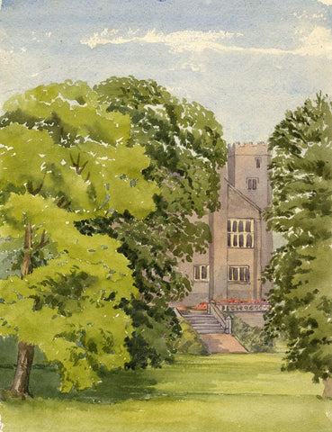 Dashwood, House & Turret through Trees - Mid-19th-century watercolour painting