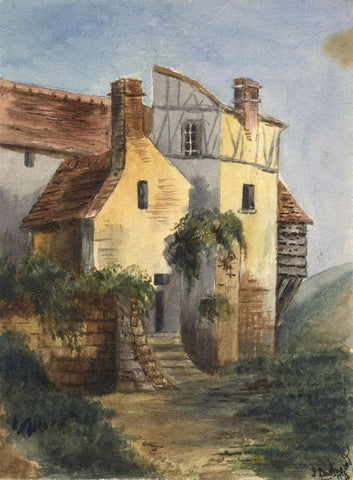 Dashwood, Continental Timber-framed House - Original 1877 watercolour painting