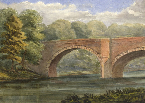 Dashwood, River View & Red Stone Bridge - Mid-19th-century watercolour painting
