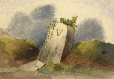 Dashwood, Milestone, Five Miles from Torquay -Original 1876 watercolour painting