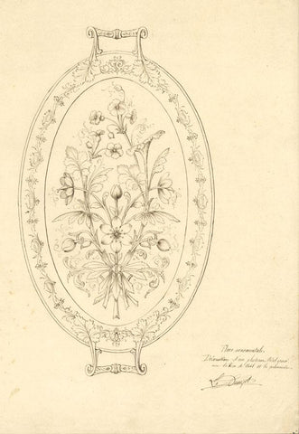 L. Denizot, French Floral Metal Tray Design - Original 1880s pen & ink drawing