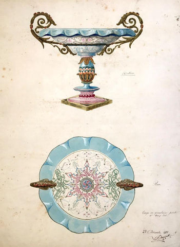L. Denizot, French Porcelain & Gilt Bronze Bowl Design-1881 watercolour painting