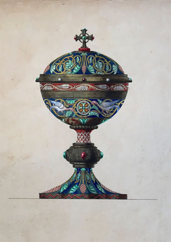 Louis Denizot, French Byzantine Ciborium Cup Design - 1883 watercolour painting