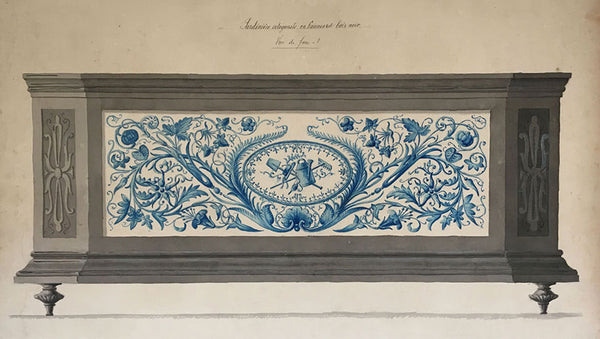 L. Denizot, French Garden Planter Design: Faience & Bois Noir - 1882 watercolour
