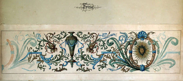 L. Denizot, French Decorative Floral Frieze Design - 1882 watercolour painting