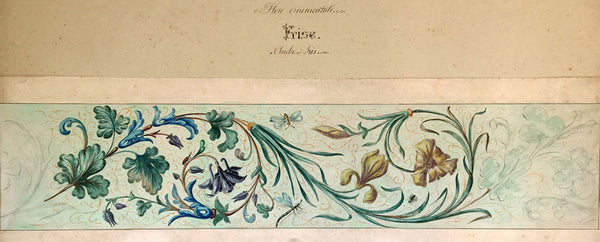 L. Denizot, French Columbine & Iris Ornamental Frieze Design - 1882 watercolour
