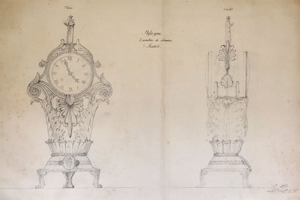 L. Denizot, French Grecian Mantelpiece Clock Design - 1882 graphite drawing