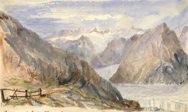 Cowan, Aletsch Glacier, Switzerland - Late 19th-century watercolour painting