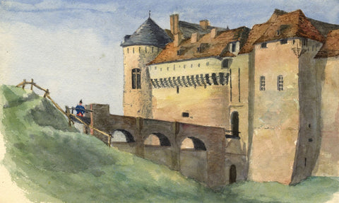 E.E. Cowan, Château de Dieppe Castle  - Late 19th-century watercolour painting