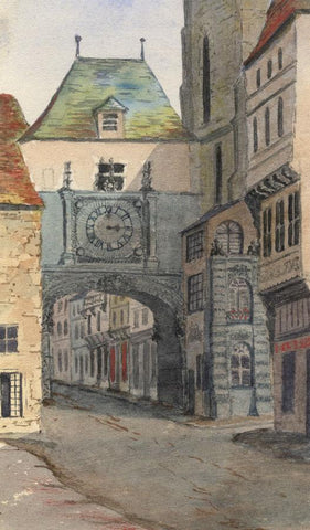E.E. Cowan, Gros-Horloge Clock, Rouen - Late 19th-century watercolour painting