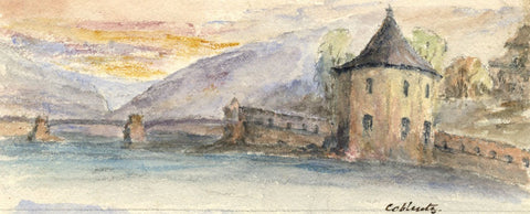 Cowan, Moselle Bridge, Coblentz, Germany -Late 19th-century watercolour painting