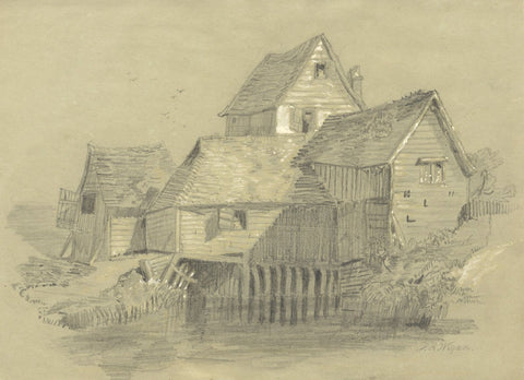 P.R. Wigan, Timber Cottages on River - Late 19th-century graphite drawing