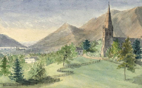 E.E. Cowan, Keswick Church & Skiddaw Mountain - 1873 watercolour painting