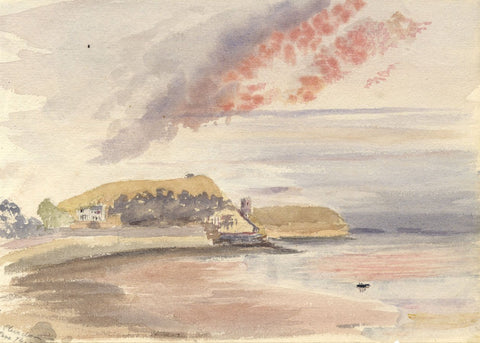 M.A. Wynell-Mayow, Clevedon Coast at Sunset - Original 1874 watercolour painting