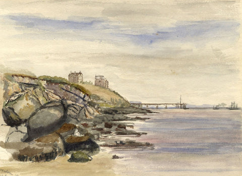 M.A. Wynell-Mayow, Ladye Bay & Clifton Pier, Clevedon -1874 watercolour painting