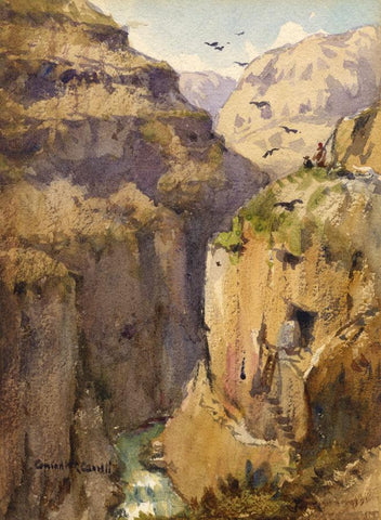 Conrad H.R. Carelli, Valley El Leja, Palestine -Early C20th watercolour painting