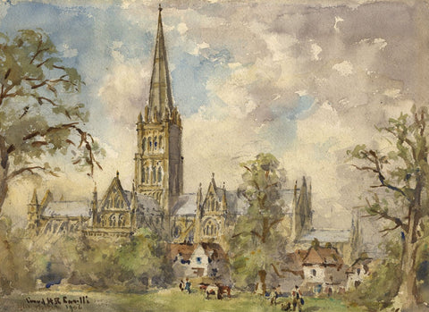Conrad H.R. Carelli, Salisbury Cathedral - Original 1954 watercolour painting