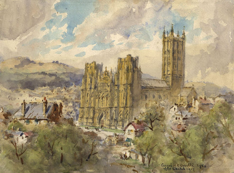 Conrad H.R. Carelli, Wells Cathedral - Original 1954 watercolour painting