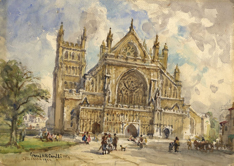 Conrad H.R. Carelli, Exeter Cathedral - Original 1954 watercolour painting