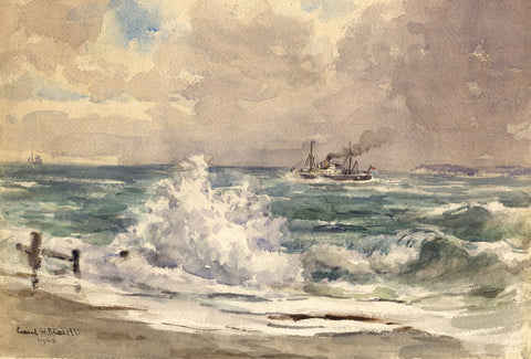 Conrad H.R. Carelli, Steamboat, Seaford, Sussex - 1948 watercolour painting