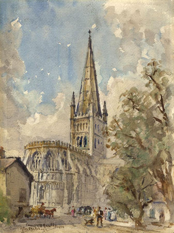 Conrad H.R. Carelli, Norwich Cathedral - Original 1954 watercolour painting