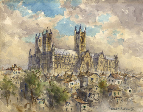 Conrad H.R. Carelli, Lincoln Cathedral - Original 1954 watercolour painting