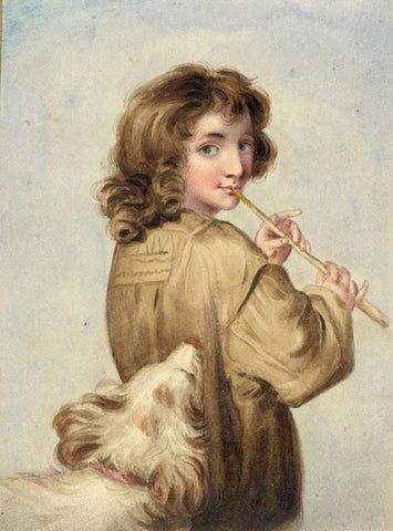 Piping Shepherd Boy after Sir Joshua Reynolds-Original 1834 watercolour painting