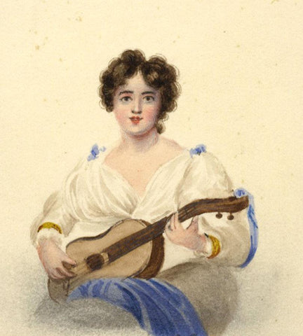 Young Lady Playing Guitar Miniature - Original 1834 watercolour painting