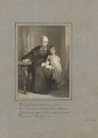 Window & her Child with Copperplate Verse - Original 1833 steel engraving print