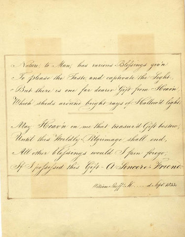 A Sincere Friend, Verses by William Sheff in Fine Copperplate Handwriting 1833