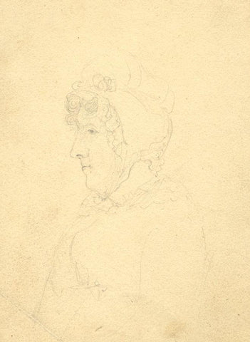 Woman in Bonnet Portrait Study - Original early 19th-century graphite drawing
